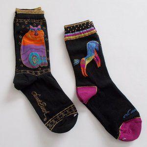 Laurel Burch Socks 2 Black Pairs Vintage Cat Horse